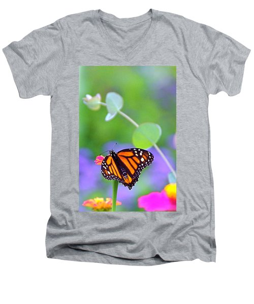 Men's V-Neck T-Shirt featuring the photograph Magical Monarch by Byron Varvarigos
