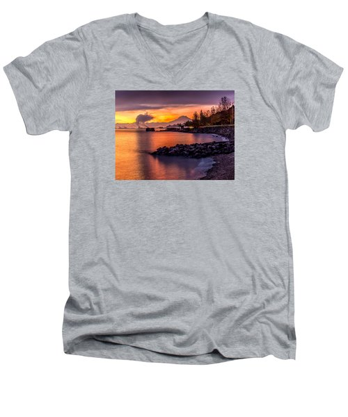 Magical Sunrise On Commencement Bay Men's V-Neck T-Shirt by Rob Green