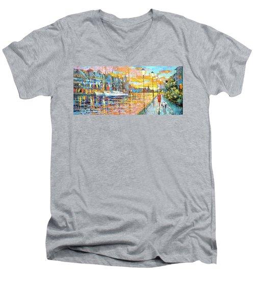 Magical Sunset Men's V-Neck T-Shirt by Dmitry Spiros