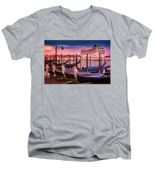 Gondolas And Cityscape At Sunset In Venice, Italy Men's V-Neck T-Shirt