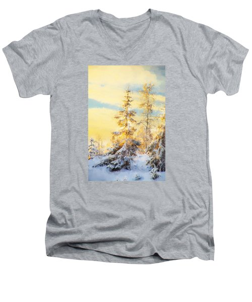 Men's V-Neck T-Shirt featuring the photograph Magical Winter Landscape by Rose-Maries Pictures