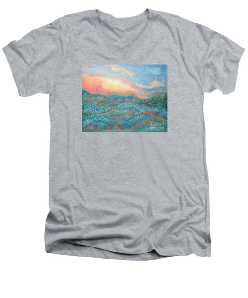 Magnificent Sunset Men's V-Neck T-Shirt by Holly Carmichael