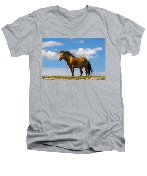 Magnificent Wild Horse Men's V-Neck T-Shirt