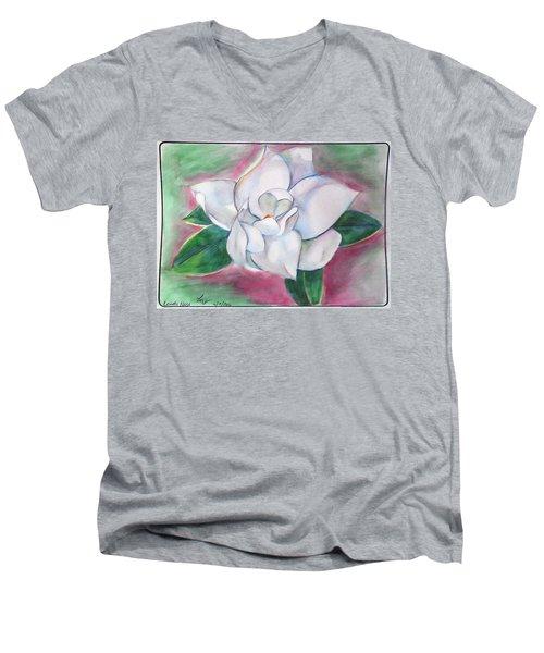 Magnolia 2 Men's V-Neck T-Shirt by Loretta Nash