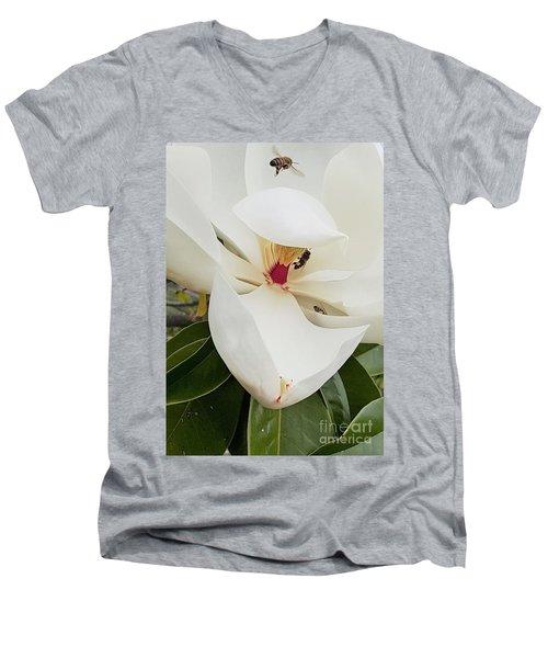 Magnolia Fans Men's V-Neck T-Shirt by Jasna Gopic