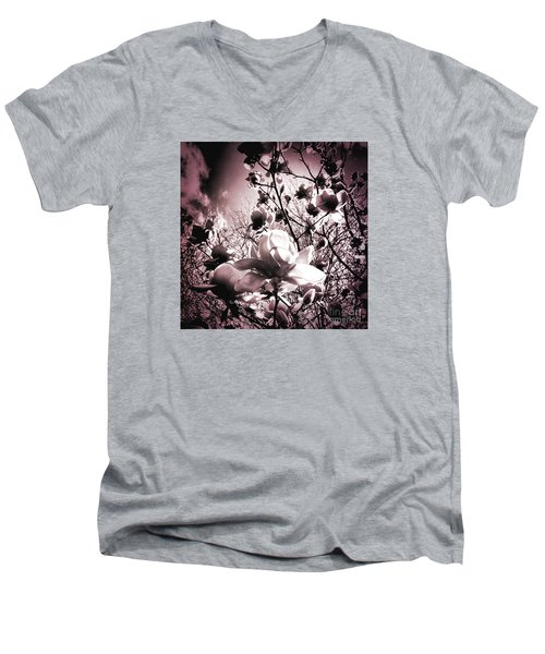 Magnolia Pink Men's V-Neck T-Shirt by Karen Lewis