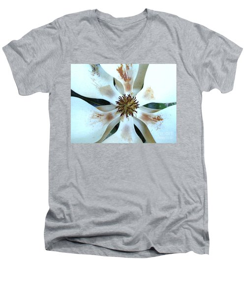 Magnolia Pinwheel Men's V-Neck T-Shirt by Nancy Kane Chapman