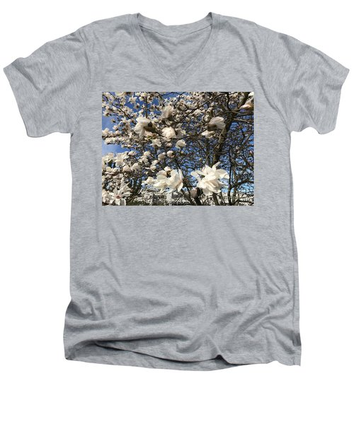 Men's V-Neck T-Shirt featuring the photograph Magnolia Tree In Blossom by Patricia Hofmeester