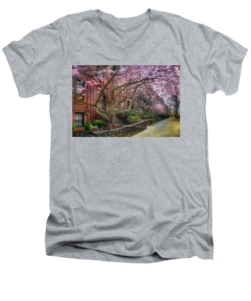 Men's V-Neck T-Shirt featuring the photograph Magnolia Trees In Spring - Back Bay Boston by Joann Vitali