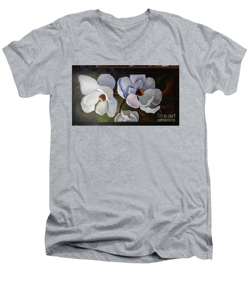 Magnolias White Flower Men's V-Neck T-Shirt