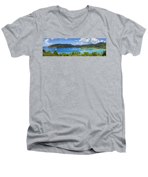 Men's V-Neck T-Shirt featuring the photograph Maho And Francis Bays On St. John, Usvi by Adam Romanowicz