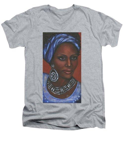 Men's V-Neck T-Shirt featuring the painting Mahogany by Alga Washington