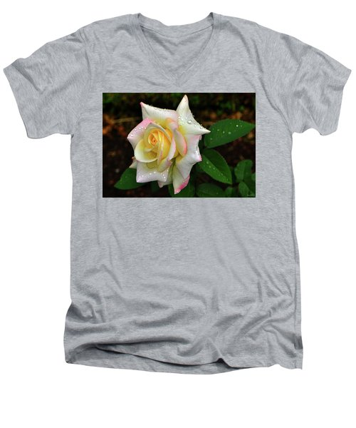 Men's V-Neck T-Shirt featuring the photograph Maid Of Honour Rose 003 by George Bostian