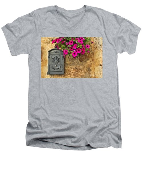 Mailbox With Petunias Men's V-Neck T-Shirt by Silvia Ganora