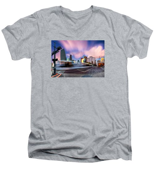 Main And Bell St Downtown Houston Texas Men's V-Neck T-Shirt by Micah Goff