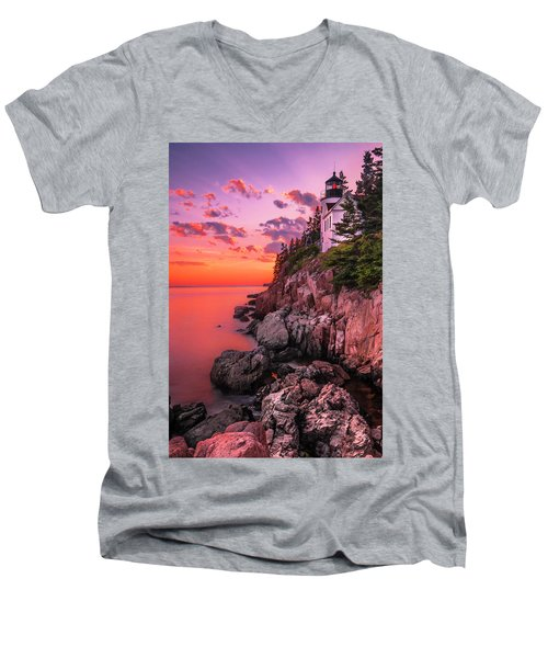 Maine Bass Harbor Lighthouse Sunset Men's V-Neck T-Shirt
