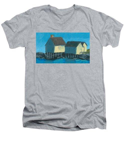 Maine Beach Fishing Shacks Men's V-Neck T-Shirt