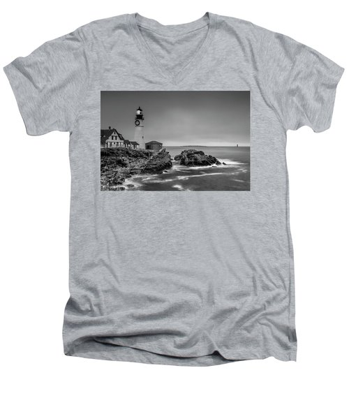 Men's V-Neck T-Shirt featuring the photograph Maine Cape Elizabeth Lighthouse Aka Portland Headlight In Bw by Ranjay Mitra