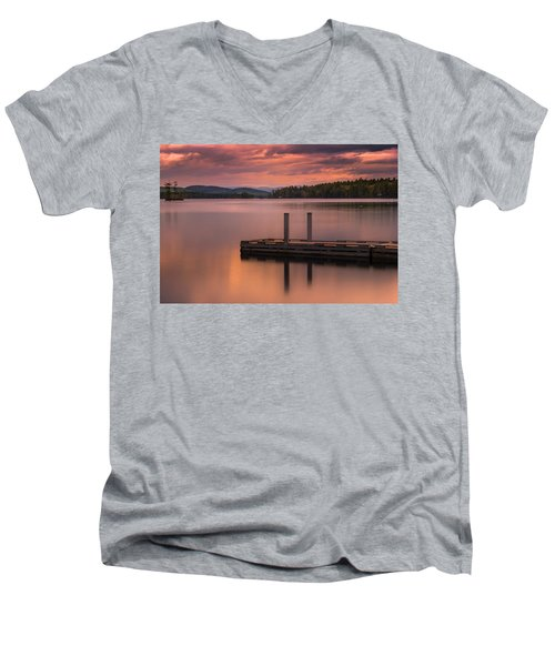Maine Highland Lake Boat Ramp At Sunset Men's V-Neck T-Shirt