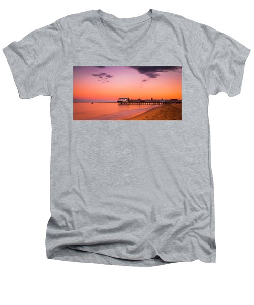 Maine Old Orchard Beach Pier At Sunset Men's V-Neck T-Shirt