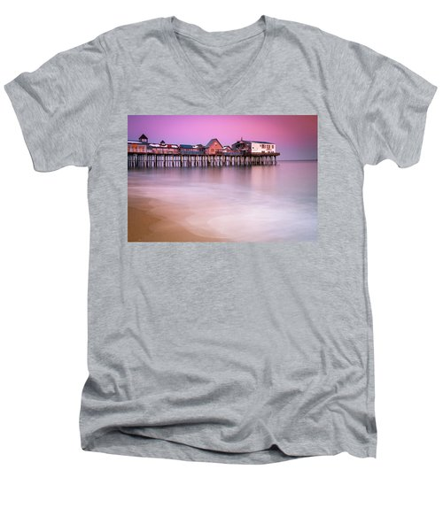 Men's V-Neck T-Shirt featuring the photograph Maine Old Orchard Beach Pier Sunset  by Ranjay Mitra