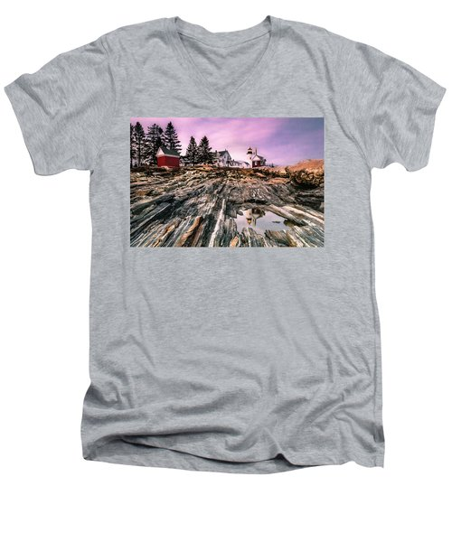 Maine Pemaquid Lighthouse Reflection In Summer Men's V-Neck T-Shirt by Ranjay Mitra