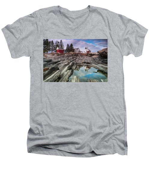 Maine Pemaquid Lighthouse Reflection Men's V-Neck T-Shirt by Ranjay Mitra