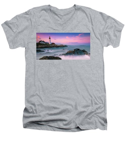 Maine Portland Headlight Lighthouse At Sunset Panorama Men's V-Neck T-Shirt by Ranjay Mitra