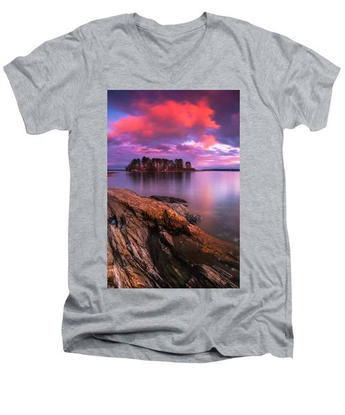 Maine Pound Of Tea Island Sunset At Freeport Men's V-Neck T-Shirt by Ranjay Mitra