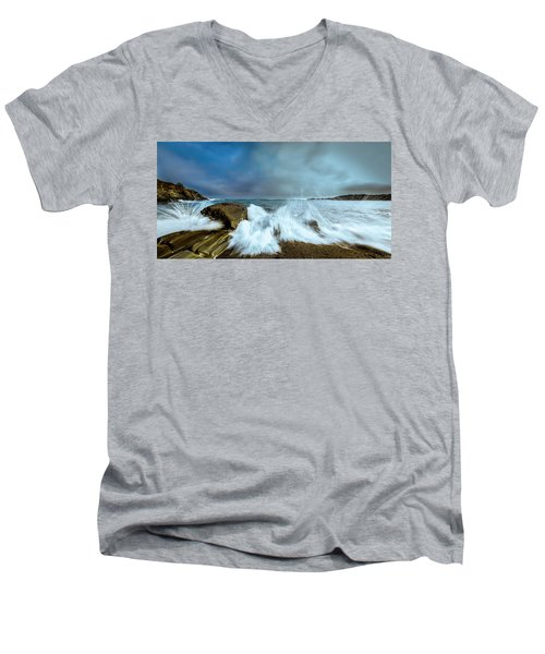 Maine Rocky Coast During Storm At Two Lights Men's V-Neck T-Shirt by Ranjay Mitra
