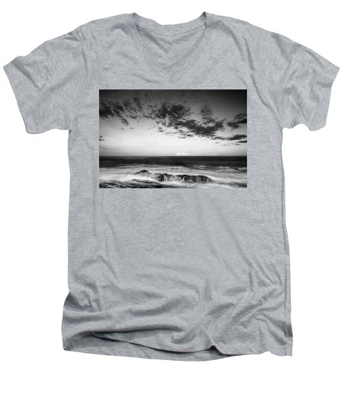 Maine Rocky Coast With Boulders And Clouds At Two Lights Park Men's V-Neck T-Shirt by Ranjay Mitra