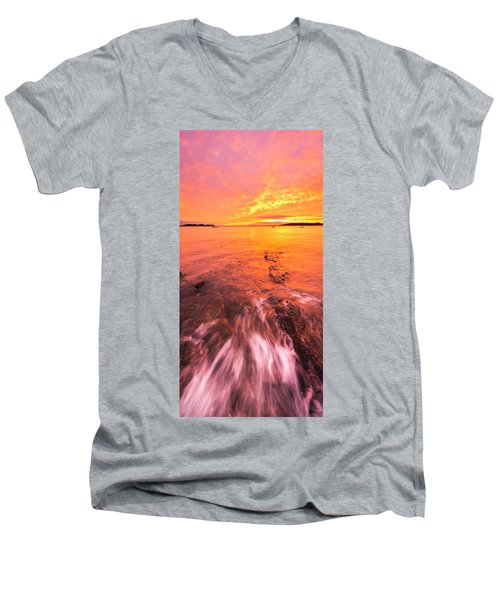 Maine Rocky Coastal Sunset At Kettle Cove Men's V-Neck T-Shirt by Ranjay Mitra
