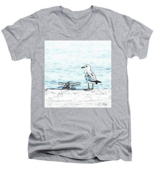 Maine Seagull Men's V-Neck T-Shirt