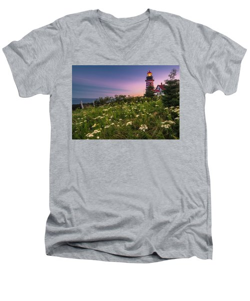 Maine West Quoddy Head Lighthouse Sunset Men's V-Neck T-Shirt by Ranjay Mitra