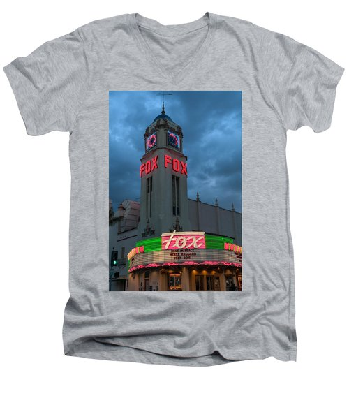 Majestic Fox Theater Neon Tribute Merle Haggard Men's V-Neck T-Shirt