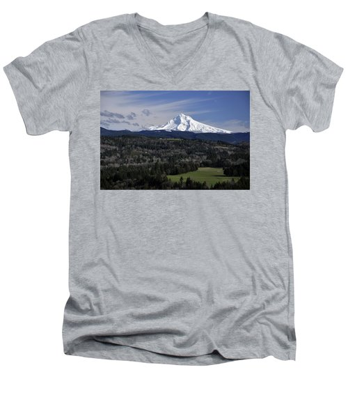 Men's V-Neck T-Shirt featuring the photograph Majestic Mt Hood by Jim Walls PhotoArtist