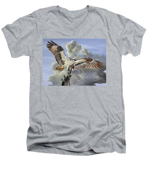 Majestic Sea Hawk Men's V-Neck T-Shirt by Phyllis Beiser