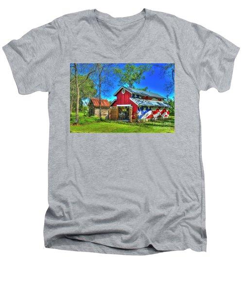 Men's V-Neck T-Shirt featuring the photograph Make America Great Again Barn American Flag Art by Reid Callaway