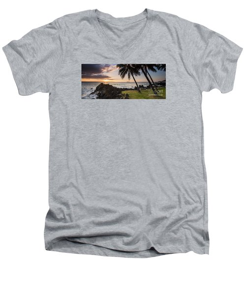 Makena Sunset Maui Hawaii Men's V-Neck T-Shirt
