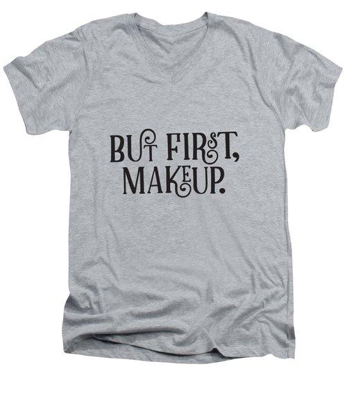 Makeup  Men's V-Neck T-Shirt by Elizabeth Taylor