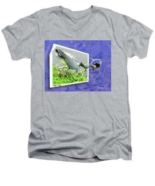Making A Splash Men's V-Neck T-Shirt by Mariarosa Rockefeller