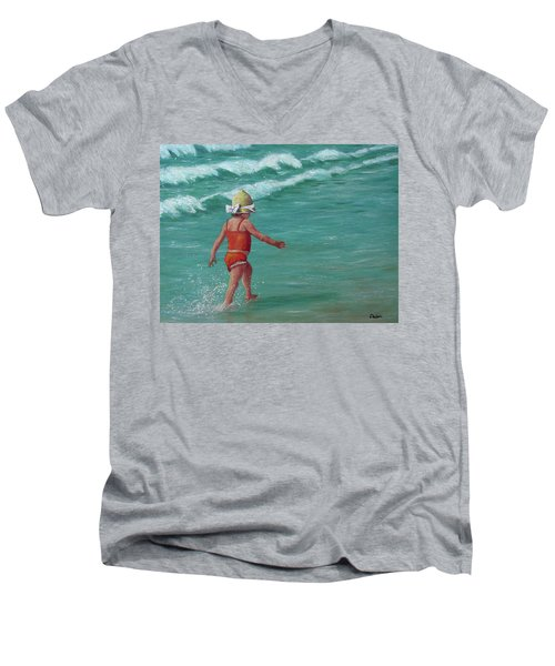 Men's V-Neck T-Shirt featuring the painting Making A Splash   by Susan DeLain