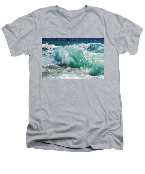 Men's V-Neck T-Shirt featuring the painting Making Waves by Harry Warrick