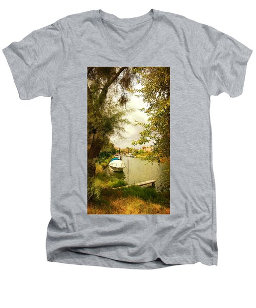 Men's V-Neck T-Shirt featuring the photograph Malamocco Canal No1 by Anne Kotan