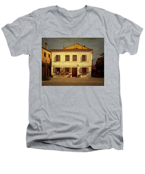 Men's V-Neck T-Shirt featuring the photograph Malamocco House No1 by Anne Kotan