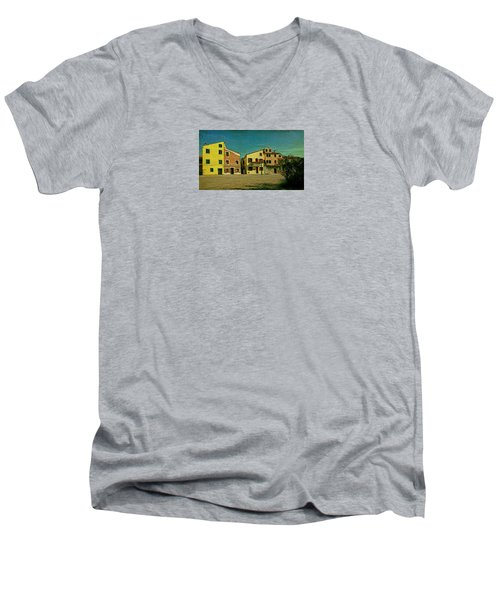 Men's V-Neck T-Shirt featuring the photograph Malamocco Main Street No1 by Anne Kotan