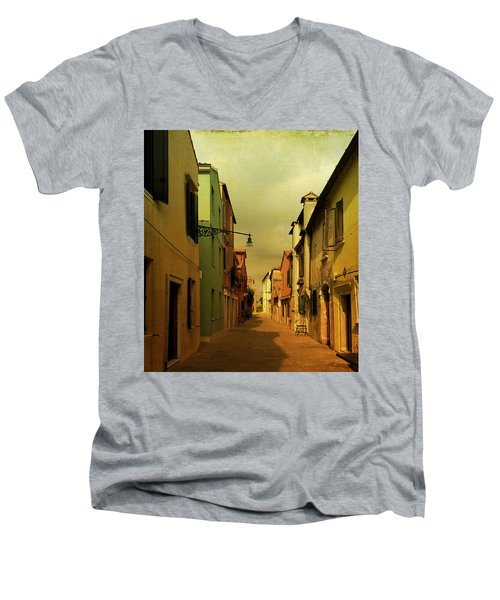 Men's V-Neck T-Shirt featuring the photograph Malamocco Perspective No1 by Anne Kotan