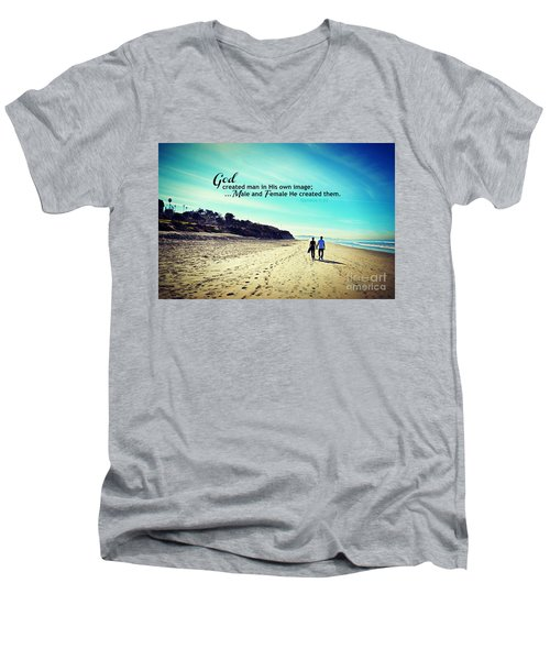 Male And Female He Created Them Men's V-Neck T-Shirt by Sharon Soberon