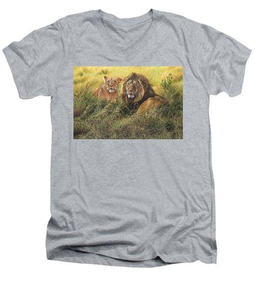Male And Female Lion Men's V-Neck T-Shirt