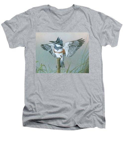 Male Belted Kingfisher Men's V-Neck T-Shirt